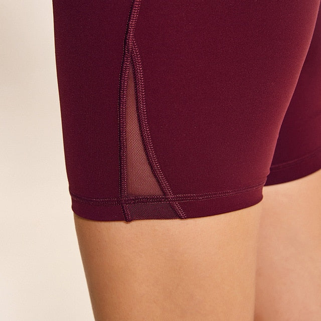 winered-Women's high waisted Tummy Control Stretch Workout Shorts with Back Zipper Pocket