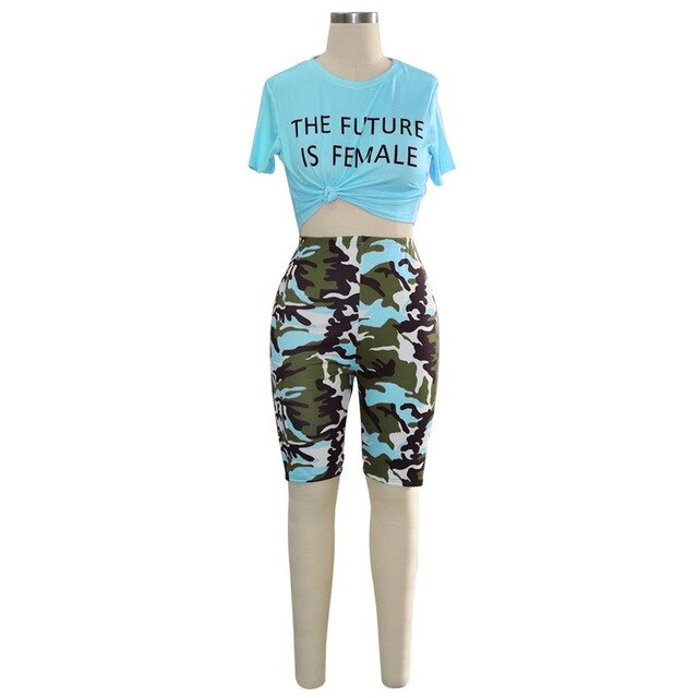 womens camo knee length shorts + Letter Print Crop top Bodycon Two Pieces Set S-XXL