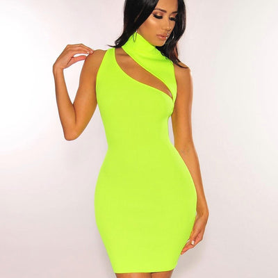 Sleeveless Asymmetric Cut Out Sexy Neon Green Rib Knit Mini Bodycon Dresses