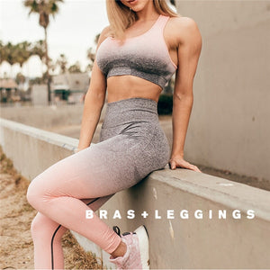 Workout Clothes Long Sleeve Crop Top+Sexy Sports Bra+Leggings