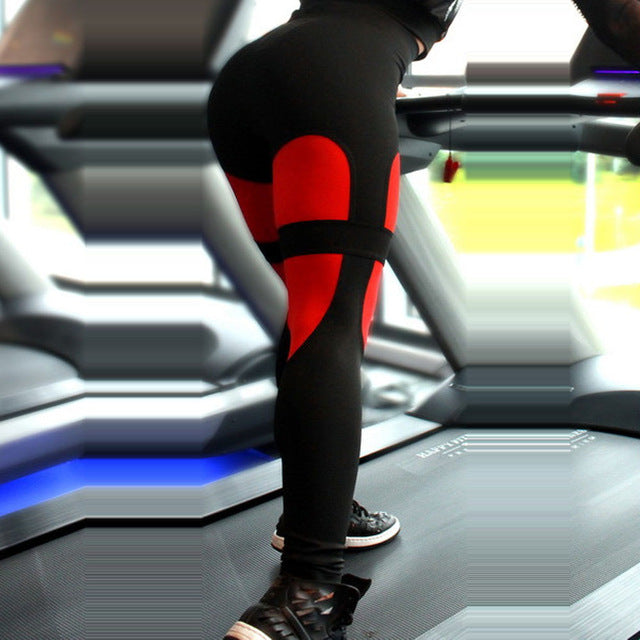 red-Women's High Waisted Workout Black Leggings