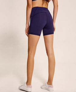 deep navy-Women's high waisted Tummy Control Stretch Workout Shorts with Back Zipper Pocket