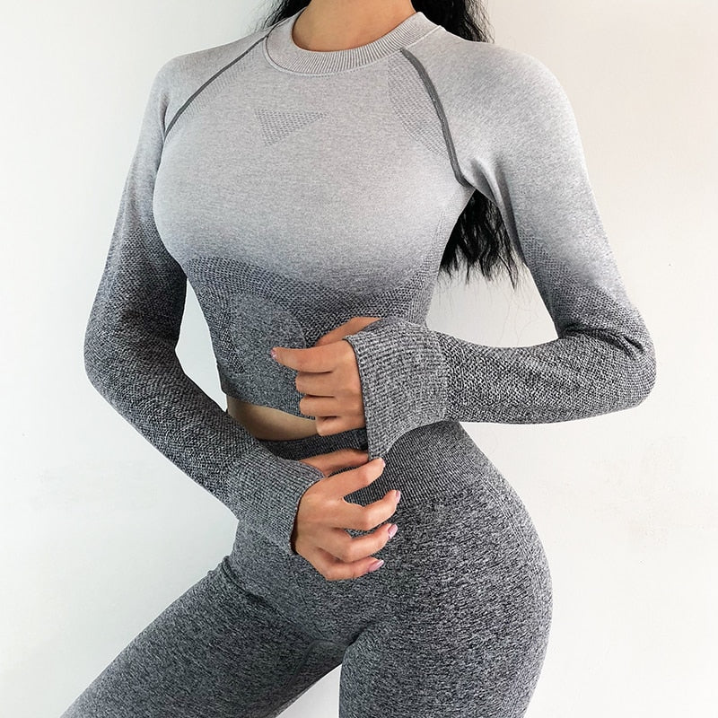 2PCS Yoga Women Long Sleeve Crop Tops And High Waisted Tummy Control Sport Suit