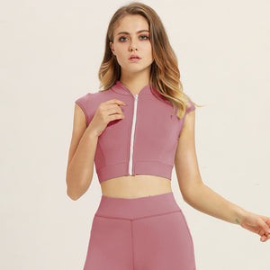 Women Short Sleeve Zipper Sport Bra With Pad Tracksuit