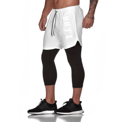a-Men's 2 in 1 white Running Shorts with back zipper phone pocket