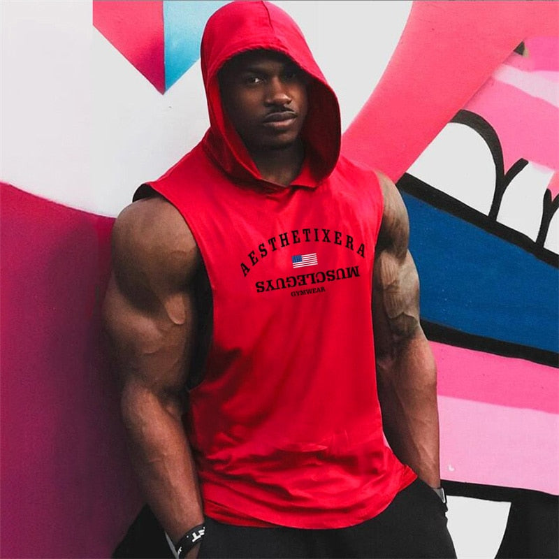 Men's Cotton Hoodie Sweatshirts Sleeveless tanktops