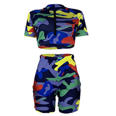 women's blue camo shorts Sleeve Crop Top + Shorts Streetwear Colorful Zipper Bodycon Outfits
