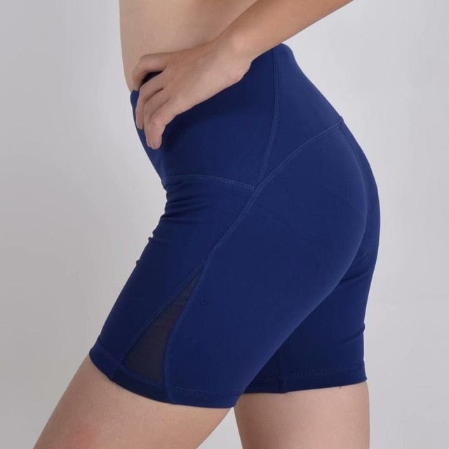 Blue-Women's high waisted Tummy Control Stretch Workout Shorts with Back Zipper Pocket