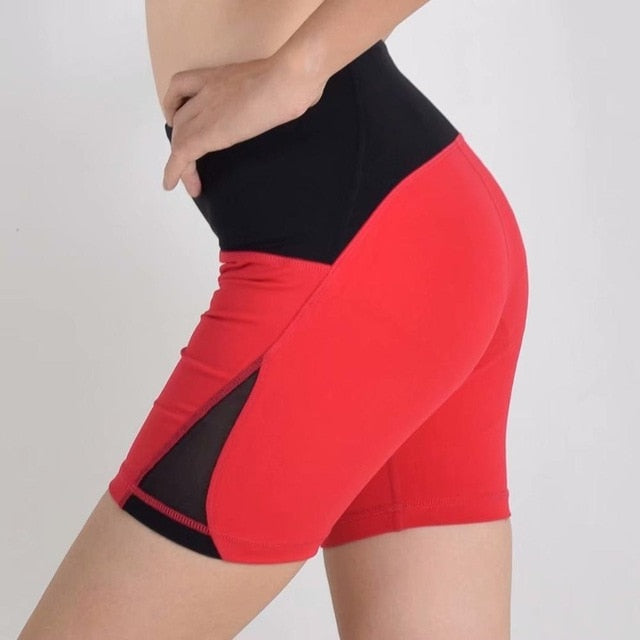 red-Women's high waisted Tummy Control Stretch Workout Shorts with Back Zipper Pocket