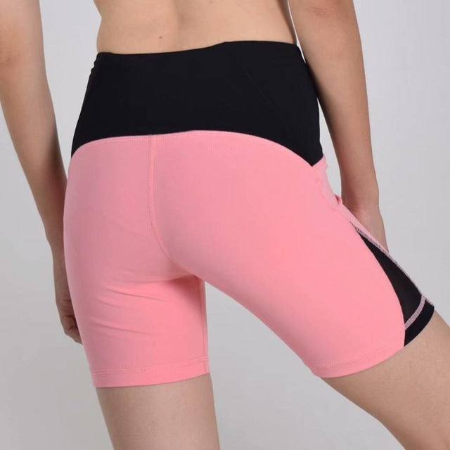 Pink-Women's high waisted Tummy Control Stretch Workout Shorts with Back Zipper Pocket