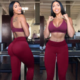 Women High Waist Push Up Solid Color Workout Print Legging