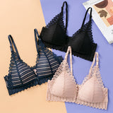 Women Sexy Lace Wireless Front Closure Bra