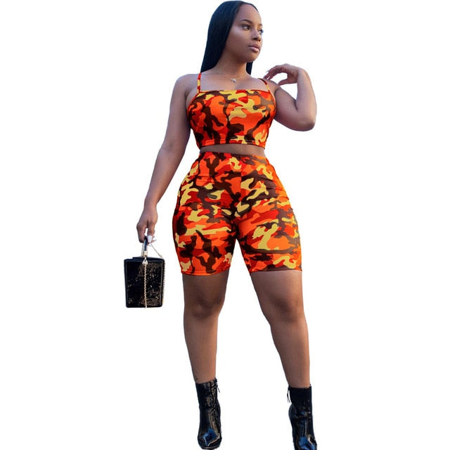 plus size xxxl Orange/Blue women's Camo Crop Tops Elastic Waist Fitted Shorts Two Pieces Set
