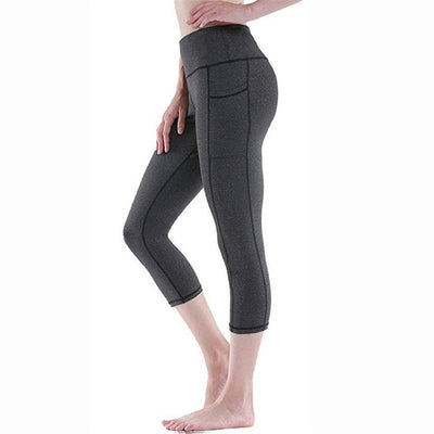 Elastic Waist Running Yoga Pants With Pocket