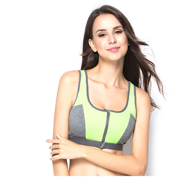 Double Layer Zipper Ladies Fitness Yoga Sports Bra