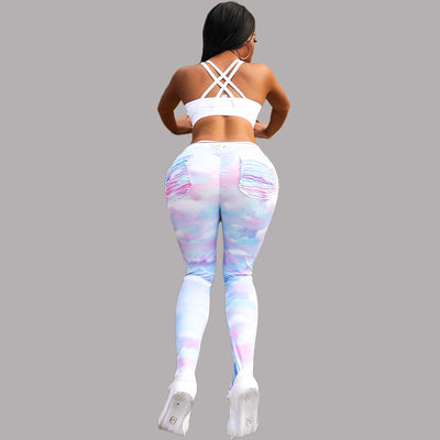 2019 Slim fit rainbow Push Up Fitness Leggings Pockets S-XL
