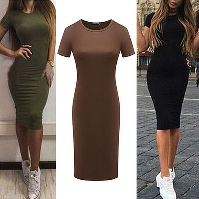 Women  Cotton Knee-Length Skinny Office e Bandage Bodycon  Dress