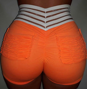 orange-Women's High Waisted Gym workout shorts with 2 back pockets