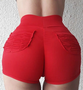Red-Women's High Waisted Gym workout shorts with 2 back pockets