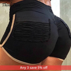 Fold Pocket High Waist Tummy Control Yoga Shorts