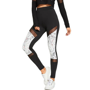 Marble Line Print Perspective Tummy Control Gym High Waist Tights Pants