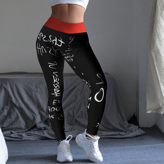 2019 new letter women's printing high waist stretch fitness yoga pants