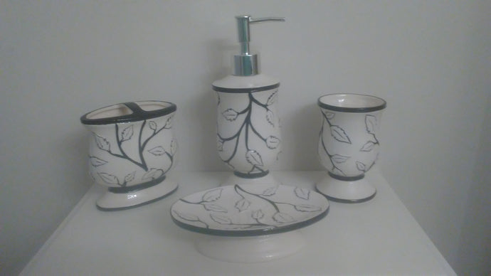 White Leaves and Black Branches Bathroom Accessory Set - watson-bathroom-accessories