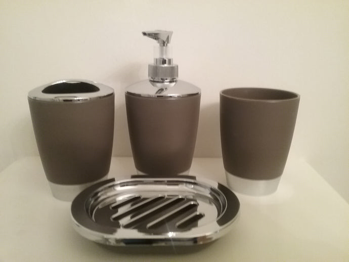 Gray and Silver Bathroom Accessory Set  which includes:  soap dish, lotion dispenser, tumbler and toothbrush/toothpaste holder