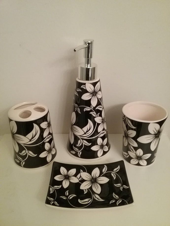 White Orchids Bathroom Accessory Set - watson-bathroom-accessories