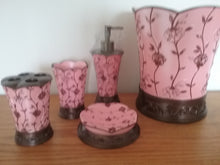 Load image into Gallery viewer, Pink and Brown Bathroom Accessory Set - watson-bathroom-accessories