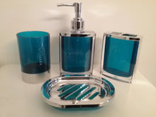 Load image into Gallery viewer, Blue and Silver Bathroom Accessory Set - watson-bathroom-accessories