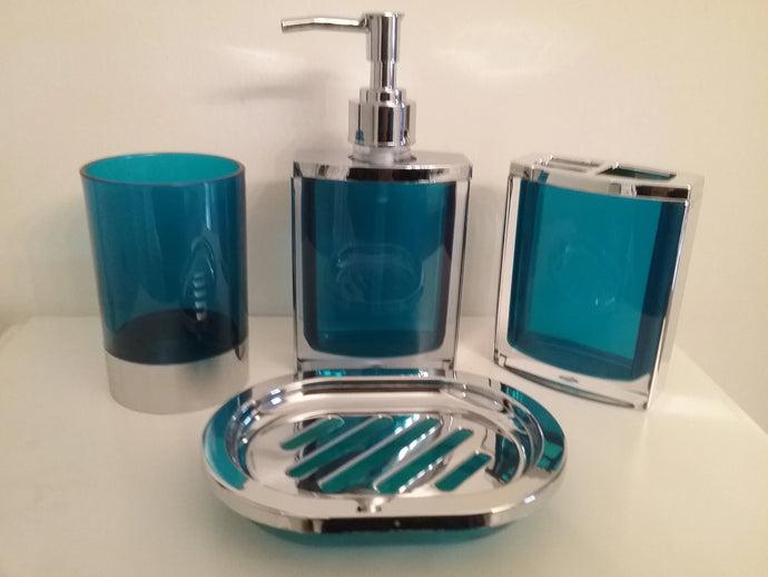 Blue and Silver Bathroom Accessory Set - watson-bathroom-accessories