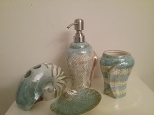 Green and Blue Iridescent Bathroom Accessory Set - watson-bathroom-accessories