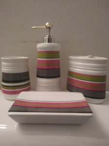 Pea Green, Pink, Dark Gray  Piece Ceramic Bathroom Accessory Set