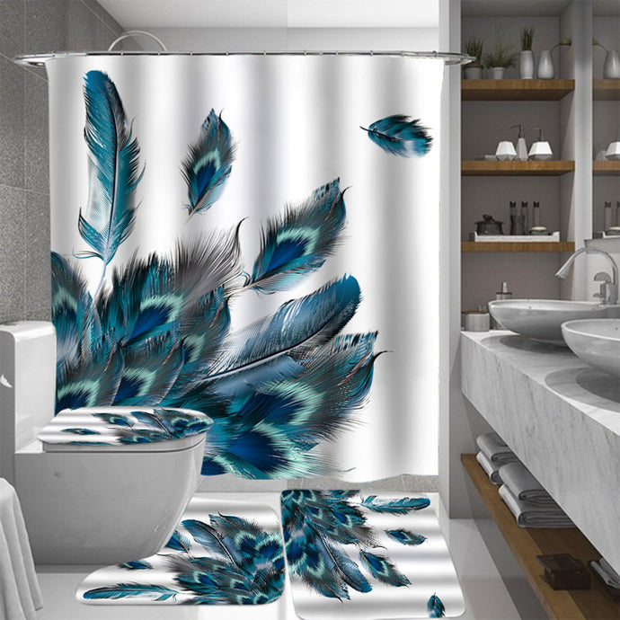 Blue Peacock Shower Curtain Set - Peacock feathers against a white background.  The set includes:  white shower curtain rings, shower curtain, toilet seat cover, rug in front of toilet and rug in front of sink. Wash by hand with mild soap.