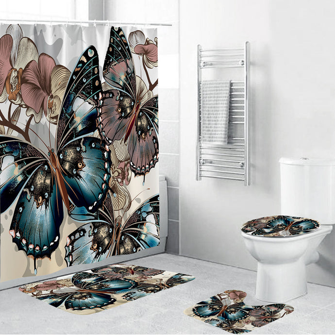 Blue and Mauve Butterfly Shower Curtain set.  Includes:  shower curtain rings, shower curtain, toilet seat cover, mat rug and toilet mat rug.  Wash by hand with mild soap.