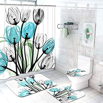 Five piece turquoise tulips with black stems shower curtain set, which includes:  shower curtain, shower curtain rings, toilet seat cover, toilet mat and mat for in front of sink.  Non slip and non mold material. Wash by hand with mild soap.