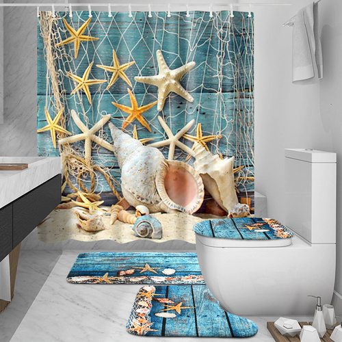 Sea Shell Shower Bathroom Accessory Set - 5 piece Sea Shell Beach Waterproof Shower Curtain Set which, includes:  Toilet Cover, Non-Slip Mat, Floor Mat Rug and 12 Shower Curtain Hooks  Wash by hand with mild soap.