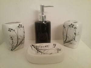 Taupe and Black Bathroom Accessory Set - watson-bathroom-accessories