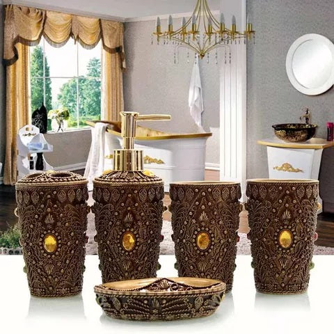 Brown Jewels Bathroom Accessory Set