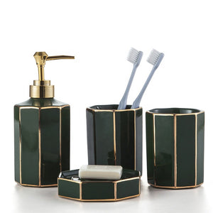 Emerald Green or Pink Octagon Shaped Bathroom Accessory Set