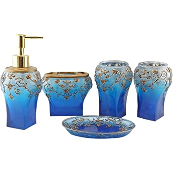 Blue and Bronze Bathroom Accessory Set