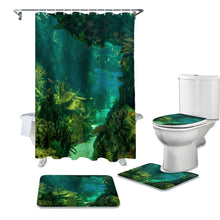 Load image into Gallery viewer, Green and Blue Shower Curtain Set