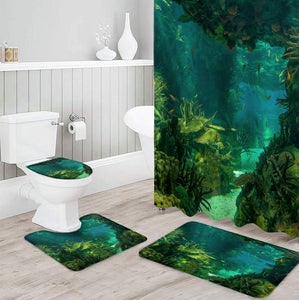 Green and Blue Shower Curtain Set
