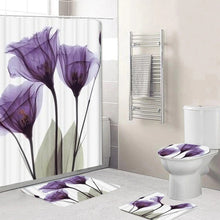 Load image into Gallery viewer, 5 piece Purple Flower shower curtain set, which includes:  water proof shower curtain and rings, toilet mat, toilet seat cover and regular mat.  Non slip and non mold. Wash by hand with mild soap.