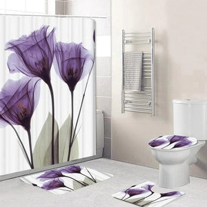 5 piece Purple Flower shower curtain set, which includes:  water proof shower curtain and rings, toilet mat, toilet seat cover and regular mat.  Non slip and non mold. Wash by hand with mild soap.