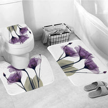 Load image into Gallery viewer, Purple Flower 5 Piece Shower Curtain Set