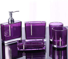 Load image into Gallery viewer, Five Piece Purple Bathroom Accessory Set