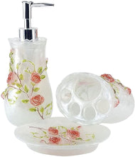 Load image into Gallery viewer, Pink Roses Bathroom Accessory Set