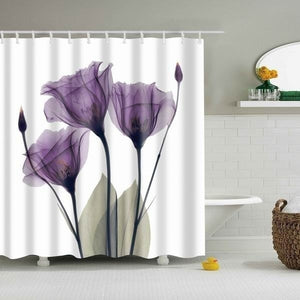 Purple Flower 5 Piece Shower Curtain Set